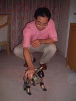 Bibo, a Sony Aibo and his owner